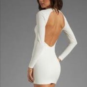 Bec and Bridge White Backless, Long-sleeve Dress
